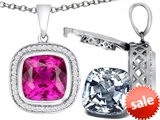 Switch-It Gems™ 2in1 Cushion 10mm Simulated Pink Tourmaline Pendant Necklace with Interchangeable Simulated White Topaz style: 308262