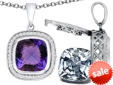 Switch-It Gems™ 2in1 Cushion 10mm Simulated Alexandrite Pendant Necklace with Interchangeable Simulated White Topaz Incl style: 308266