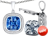 Switch-It Gems™ 2in1 Cushion 10mm Simulated Aquamarine Pendant Necklace with Interchangeable Simulated White Topaz Inclu style: 308268