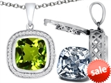Switch-It Gems™ 2in1 Cushion 10mm Simulated Peridot Pendant Necklace with Interchangeable Simulated White Topaz Included style: 308271
