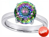 Star K™ Large Solitaire Big Stone Ring with 10mm Round Rainbow Mystic Topaz style: 308434