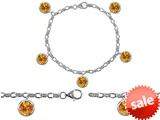 Star K™ High End Tennis Charm Bracelet With 5pcs 7mm Round Genuine Citrine style: 308437