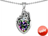 Original Star K™ Loving Mother And Father With Child Family Pendant With Heart Shape 8mm Mystic Rainbow Topaz style: 308473
