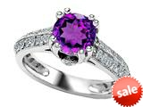 Star K™ Round Simulated Amethyst Ring style: 308818