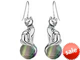 Original Star K™ Large Cat Hanging Hook Earrings with 10mm Simulated Rainbow Mystic Topaz Ball style: 308923
