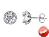 Original Star K™ Round 7mm White Topaz Halo Earring Studs style: 310097