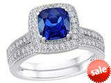 Star K™ Cushion Cut Created Sapphire Wedding Set style: 310292