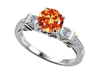 57dc4e0a1ab Round Mexican Orange Fire Opal Genuine Sterling Silver Engagement Ring Set