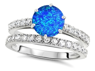 Star K Round 7mm Simulated Blue Opal Wedding Ring 307704