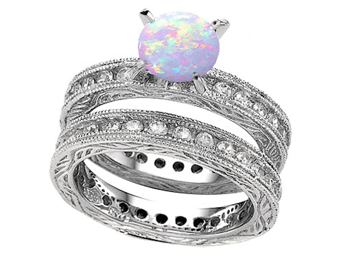 antique style opal enement rings - Opal Wedding Ring Sets