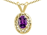 Tommaso Design™ Genuine Amethyst Oval 6x4mm Pendant Necklace style: 21221