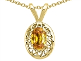 Tommaso Design™ Genuine Citrine Oval 6x4mm Pendant Necklace style: 21224