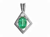 Tommaso Design™ Oval 6x4mm Genuine Emerald Pendant Necklace style: 21226