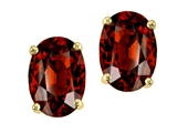 Tommaso Design™ Oval 7x5mm Genuine Garnet Earrings Studs style: 21421