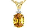 Tommaso Design™ Oval 10x8 mm Genuine Citrine Pendant Necklace style: 21483
