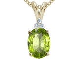 Tommaso Design™ Oval 10x8mm Genuine Peridot Pendant Necklace style: 21489