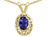 Tommaso Design™ Genuine Iolite Oval 6x4mm Pendant Necklace style: 21756