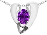 Tommaso Design™ Oval 9x7mm Genuine Amethyst Pendant Necklace Enhancer style: 22501