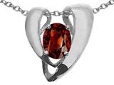 Tommaso Design™ Oval 9x7mm Genuine Garnet Pendant Necklace Enhancer style: 22504