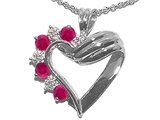 Tommaso Design™ Ruby Heart Shaped Pendant Necklace style: 22656