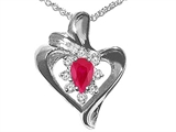 Tommaso Design™ Ruby and Diamond Heart Shaped Pendant Necklace style: 22676