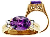 Tommaso Design™ Large Oval Genuine Amethyst Ring style: 22742