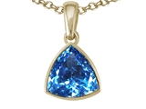 Tommaso Design™ Trillion Cut Genuine Blue Topaz Pendant Necklace style: 22850