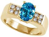 Tommaso Design™ Oval 8x6 mm Genuine Blue Topaz Ring style: 23000