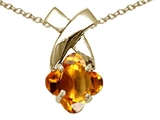 Tommaso Design™ 7mm Clover Cut Genuine Citrine Pendant Necklace style: 23259
