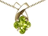 Tommaso Design™ Clover Cut 7mm Genuine Peridot Pendant Necklace style: 23261