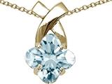 Tommaso Design™ Clover Cut 8mm Faint Blue Genuine Aquamarine Pendant Necklace style: 23262