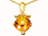 Tommaso Design™ Genuine Citrine Pendant Necklace style: 23263