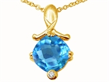 Tommaso Design™ Genuine Blue Topaz Pendant Necklace style: 23266