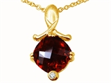 Tommaso Design™ Genuine Garnet Pendant Necklace style: 23267
