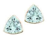 Tommaso Design™ Trillion Cut 6mm Genuine Aquamarine Earrings style: 23286