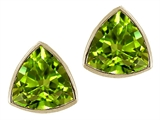 Tommaso Design™ Trillion Cut 6 mm Genuine Peridot Earrings Studs style: 23295