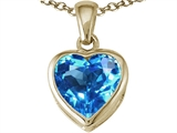 Tommaso Design™ Heart Shape 7mm Genuine Blue Topaz Pendant Necklace style: 23324