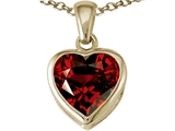 Tommaso Design™ Heart Shape 7mm Genuine Garnet Pendant Necklace style: 23326