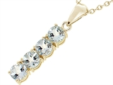 Tommaso Design™ 1inch long Genuine Aquamarine Straight Journey Pendant style: 23377