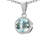 Tommaso Design™ Genuine Round Aquamarine Pendant Necklace style: 23392