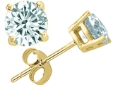 Tommaso Design™ Round Genuine Aquamarine Earrings Studs style: 23431