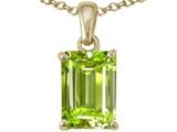 Tommaso Design™ Emerald Cut 8x6mm Genuine Peridot Pendant Necklace style: 23497