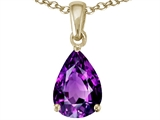 Tommaso Design™ Pear Shape 8x6 mm Genuine Amethyst Pendant Necklace style: 23505