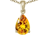 Tommaso Design™ Genuine Pear Shape Citrine Pendant Necklace style: 23507