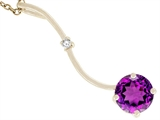 Tommaso Design™ Genuine Round Amethyst Pendant Necklace style: 23522