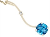 Tommaso Design™ Genuine Round Blue Topaz Pendant Necklace style: 23523