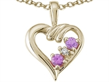 Tommaso Design™ Round 2.5mm Genuine Pink Tourmaline Heart Pendant Necklace style: 23678