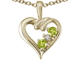Tommaso Design™ Round 3mm Genuine Peridot Heart Pendant Necklace style: 23679
