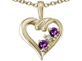 Tommaso Design™ Round 3mm Genuine Amethyst Heart Pendant Necklace style: 23681