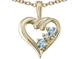 Tommaso Design™ Round 3mm Genuine Aquamarine Heart Pendant Necklace style: 23684